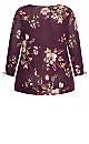Plus Size Ribbed Floral Pullover W Tie Sleeve