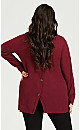 Long Sleeve Button Back Thermal Top - burgundy