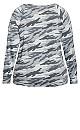 Plus Size Long Sleeve Camo Tee - grey