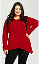Plus Size ITY Caged Stud Cuff Top - berry