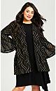 Plus Size Glitter Mesh Cardi - black