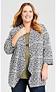 Plus Size Printed Hooded Cardigan - ivory print