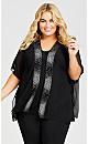 Plus Size Sheer Embellished Overpiece - black