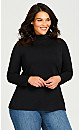 Plus Size Long Sleeve Mock Neck Top - black