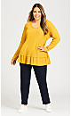 Plus Size Waffle Knit Ruffle Tunic - gold