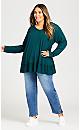 Plus Size Waffle Knit Ruffle Tunic - green