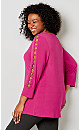 Plus Size Hardware Caged Sleeve Top - red