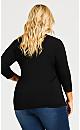 Plus Size Embellished Side Twist Top - black