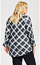 Plus Size ITY Long Sleeve Plaid 2 For 1 Top - multi