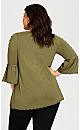Plus Size Split Sleeve Crochet Trim Top - olive