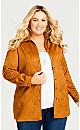 Plus Size Suede Shirt Jacket - cognac