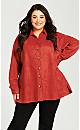 Plus Size Suede Shirt Jacket - sangria