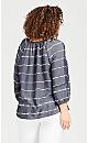 Plus Size 3/4 Sleeve Tie Dye Top - navy