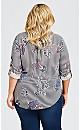 Plus Size 3/4 Paisley Print Top - blue