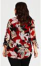 Ruched Split Neck Long Sleeve Top - red floral
