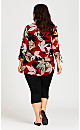 Plus Size Ruched Split Neck Long Sleeve Top - red floral