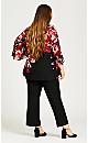 Plus Size 3/4 Sleeve V Neck Floral Top - black floral