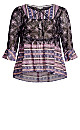 Plus Size Twin Print Long Sleeve Top - violet