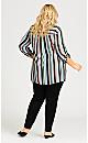 Plus Size Roll Tab 3/4 Sleeve Stripe Top - multi stripe