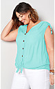Tie Front Sleeveless Top - blue