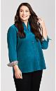 Plus Size Long Sleeve Corduroy Shirt - blue