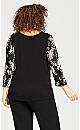 Plus Size Split Neck Floral Pleated blouse - black
