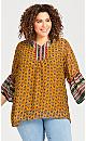 Plus Size Printed Chiffon Tunic - yellow