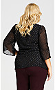 Plus Size 3/4 Sleeve Bronze Clip Dot Top - black