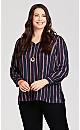 Plus Size V Neck Stripe Lurex Pullover - navy