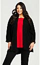 Plus Size Long Sleeve Waffle Cardigan - black