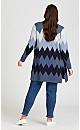 Plus Size Long Sleeve Chevron Cardigan - royal