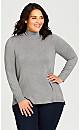 Plus Size Long Sleeve Scrunch Sweater - grey
