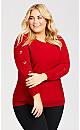 Plus Size Dolman Detail Sweater - red