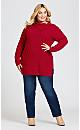 Plus Size Button Split Neck Sweater - red