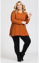 Plus Size Cable Knit Sharkbite Sweater - orange