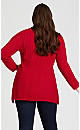 Plus Size Cable Knit Sharkbite Sweater - red