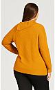 Plus Size Button Long Sleeve Split Neck Top - gold