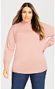 Ruched Mock Neck Sweater - peach