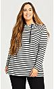Plus Size Foil Stripe Hoodie - grey