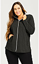Plus Size Shaped French Terry Active Jacket - grey