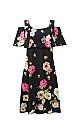 **Grace Black Cold Shoulder Floral Print Midi Dress