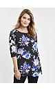 **Grace Blue Floral Print Woven Tunic