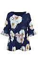 **Grace Navy Blue Floral Print Blouse