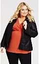 Plus Size Faux Fur Collar Jacket  - black