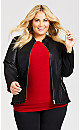 Plus Size Ruffle Trim Faux Leather Jacket - black