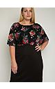 **Aarya Black Dark Floral Print Pencil Dress