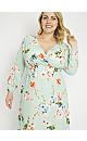 **Aarya Mint Floral Print Swing Midi Dress