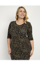 **Aarya Black 3/4 Sleeve Animal Sequin Detail Bodycon Dress