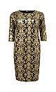 **Aarya Gold 3/4 Sleeve Midi Dress