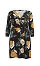 **Aarya Black Floral Print Wrap Dress